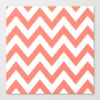 CORAL CHEVRON Canvas Print