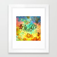 FLY ME TO THE MOON - Rainbow Bold Galactic Outer Space Orbit Stars Abstract Fine Art Typography Framed Art Print
