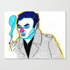 blue hair with a cigarette Canvas Print