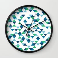 Triangles Blue and Green Wall Clock