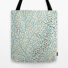 Berry Branches – Turquoise & Gold Tote Bag
