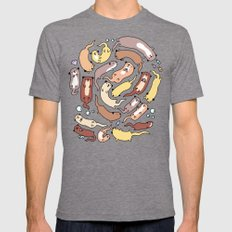 Adorable Otter Swirl Mens Fitted Tee Tri-Grey SMALL
