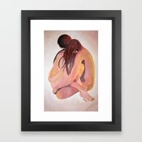 Intimate Couple Hugging and Staying In Touch Framed Art Print