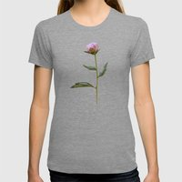 Peonies On Black Womens Fitted Tee Tri-Grey SMALL