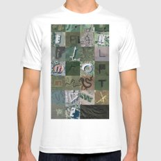 Google Maps Alphabet White Mens Fitted Tee SMALL
