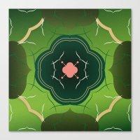 Vintage Tiles Green Canvas Print