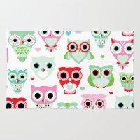 Powder pastel owl pattern print Rug