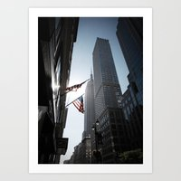The Flags. Empire State Building, New York. Art Print