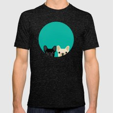 2 French Bulldogs Mens Fitted Tee Tri-Black SMALL