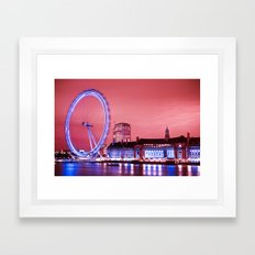 The London Eye, Pink Sky Framed Art Print