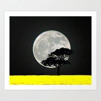 Lone Tree And Moon. Art Print