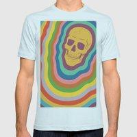 Trippy Rainbow Skull Mens Fitted Tee Light Blue SMALL