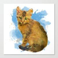 Watercolor and splatter Cat Canvas Print