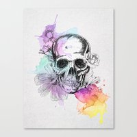 Skull flowers Canvas Print