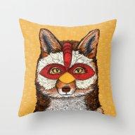 Throw Pillow featuring ChickenFox by Sandra Dieckmann