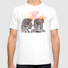 Han Solo and Princess Leia from Star Wars Mens Fitted Tee White SMALL