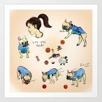 French Bulldog Playing W… Art Print