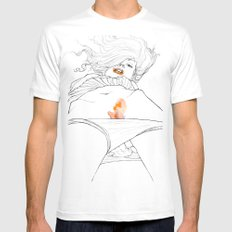 Flame Mens Fitted Tee White SMALL