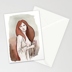 Brunette in Drapery Stationery Cards