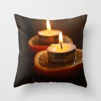Orange Candles Throw Pillow