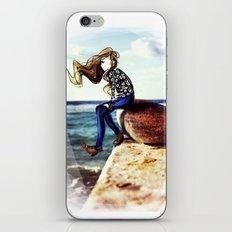 Girl on a stone iPhone & iPod Skin