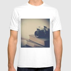 Vintage Nikon Camera and Old Books Mens Fitted Tee White SMALL