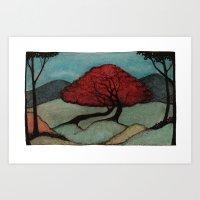 Red Lover Trees Art Print