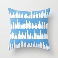 Bottles Blue Throw Pillow
