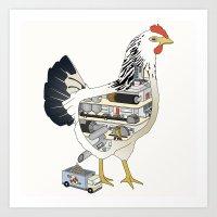 Factory Chicken Art Print