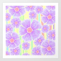 Spring Floral And Stripe… Art Print