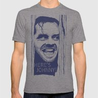 Here's Johnny! Mens Fitted Tee Tri-Grey SMALL