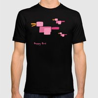 Happy Bird-Pink Mens Fitted Tee Black SMALL