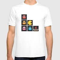 Pac Man Mens Fitted Tee White SMALL