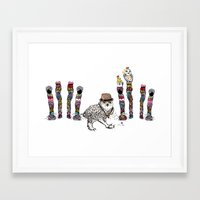 Owl in the City of Hearts Framed Art Print