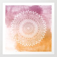SUMMER LEAVES MANDALA Art Print