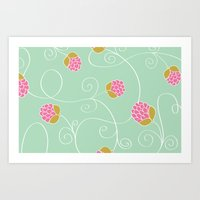 Raspberry Patch Aqua Art Print