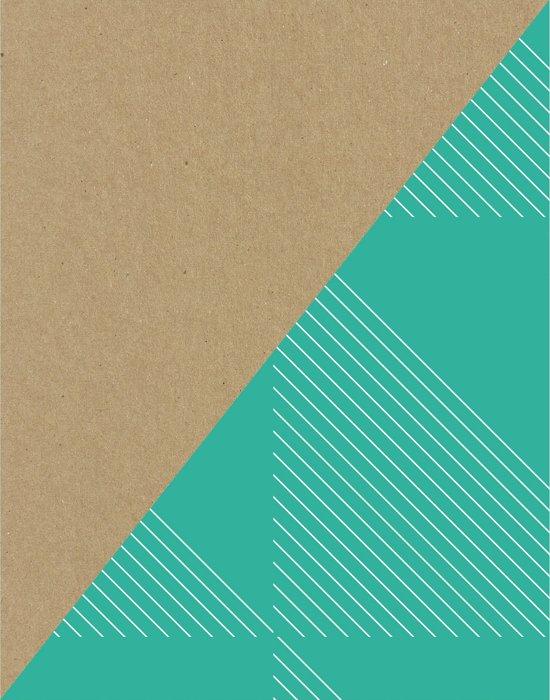 Cardboard & Aqua Stripes Art Print