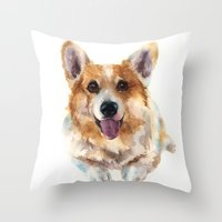 Corgi painting, watercolor Corgi, dog paintings, dog breed mugs, dog breed pillows Throw Pillow