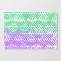Mint And Lilac Waves Canvas Print