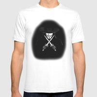 V for Vendetta (e7) Mens Fitted Tee White SMALL