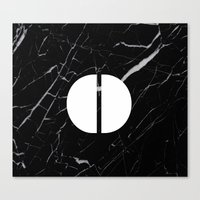 Black Marble - Alphabet O Canvas Print