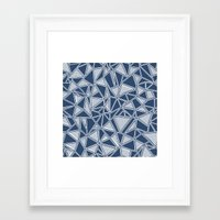 Abstract Outline Lines Navy  Framed Art Print
