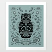 Owl Nesting Doll (Matryoshka) Art Print