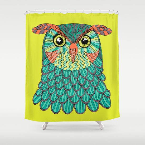 owl - Lime green Shower Curtain