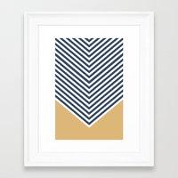 Gold & Navy Chevron Framed Art Print