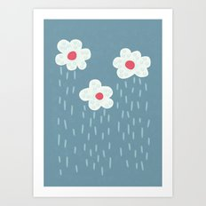 Rainy Flowery Clouds Art Print