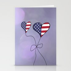 Patriotic USA Heart Shaped Flags Stronger Together Anti Trump Stationery Cards