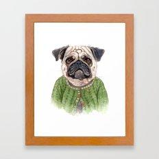 Pug in Sweater Framed Art Print