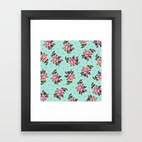 Pink Roses On Blue Framed Art Print