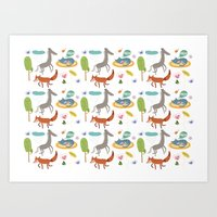 Happy Animals Art Print